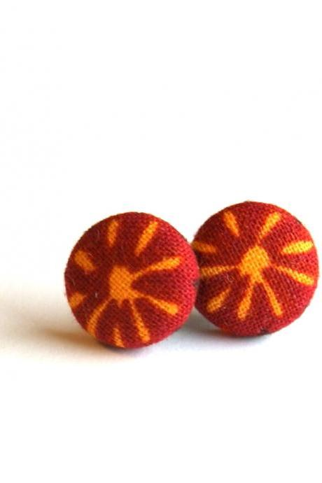 Maroon and Yellow Sun Fabric Button Earrings