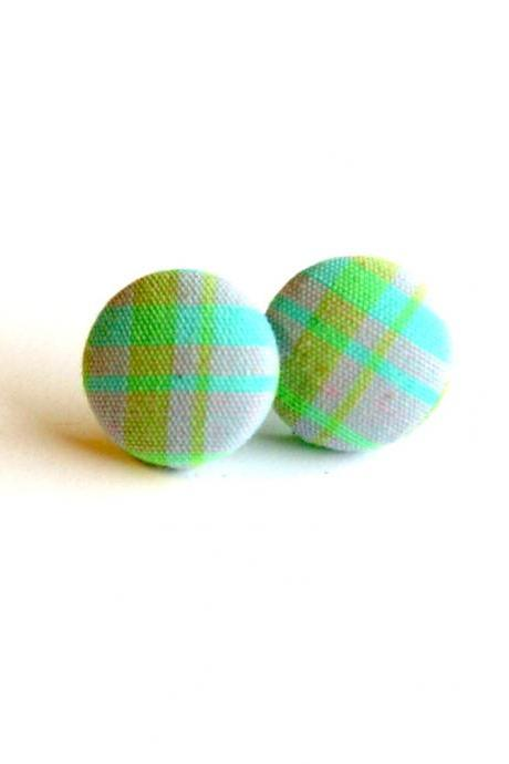 Purple, Green and Turquoise Plaid Button Earrings