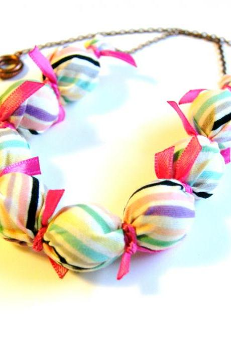 Pink Candy Stripe Fabric Wrapped Necklace