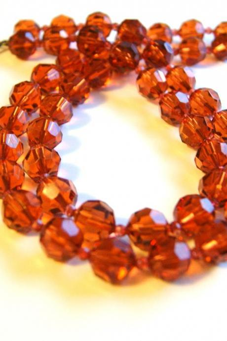 Translucent Auburn Beaded Necklace