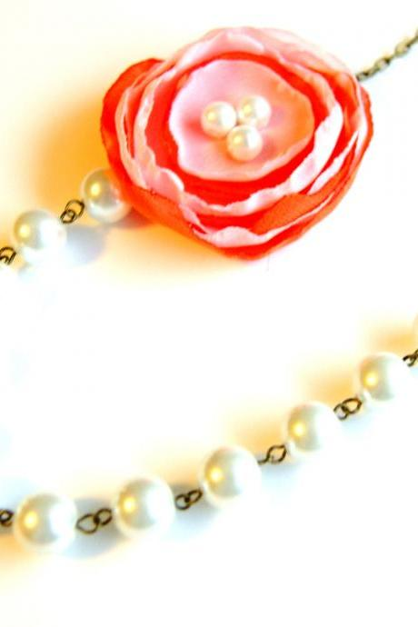Pink and Orange Flower Beaded Necklace