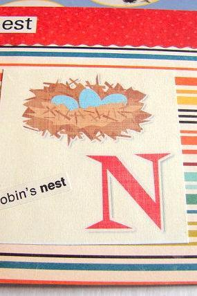 N Is For Nest Collage - Kids Nursery Childrens Wall Art Decor - Alphabet ABC - A Robins Nest