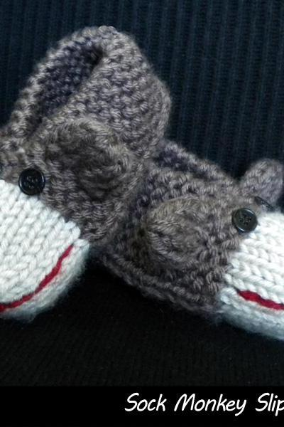 Sock Monkey Slippers for Kids Knitting Pattern