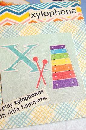 X Is For Xylophone Collage - Kids Nursery Childrens Wall Art Decor - Alphabet ABC - We Play With Little Hammers