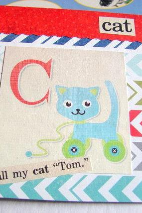 C Is For Cat Collage - Kids Nursery Childrens Wall Art Decor - Alphabet ABC - I Call My Cat Tom