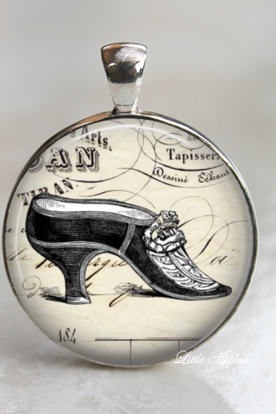 shoe heels ephemera sketch drawing vintage glass necklace or keychain