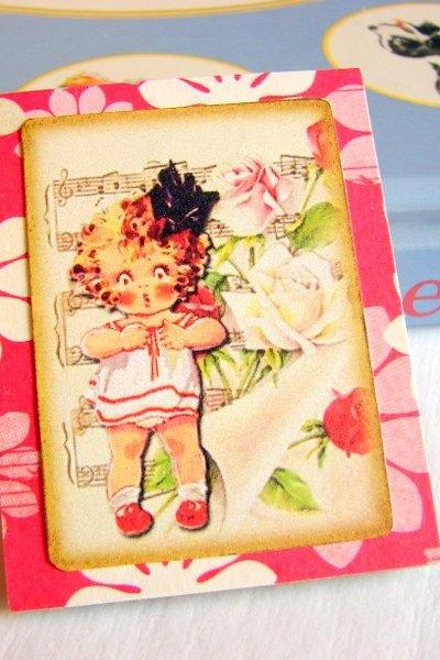 Little Girl With A Big Bow In Her Hair - Oh My - Paper and Chipboard Collage Decoupage Pin Brooch Badge - Retro Vintage