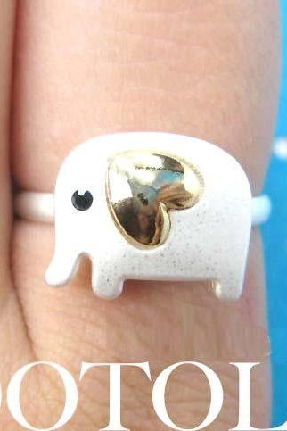 Adjustable Elephant Animal Ring in Silver with Gold Heart Shaped Ears