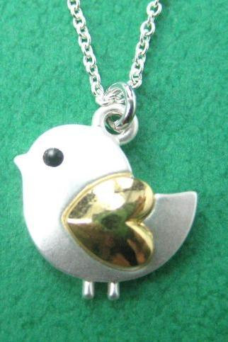 Small Bird Chick Animal Charm Necklace in Silver with Heart