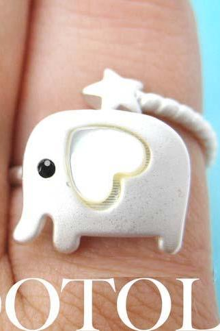 Elephant Animal Wrap Ring in Silver with Heart Shaped Ears Size 7 ONLY