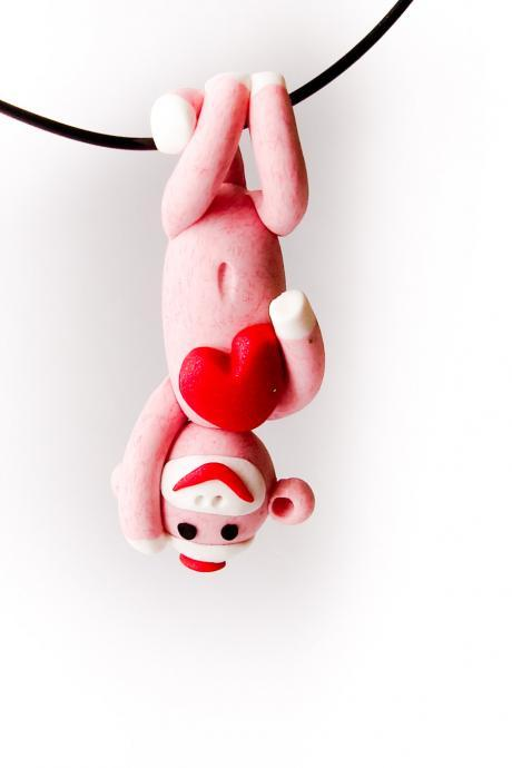 Pink Valentine's Day Sock Monkey Pendant Upside-Down with Heart