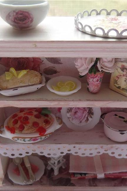 Dollhouse Miniature Pink Paris Vintage Pantry Hutch