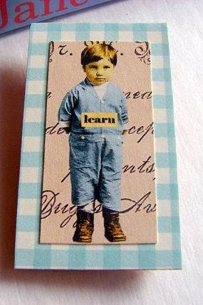 Learn - Boy In Blue - Inspirational Paper and Chipboard Collage Decoupage Pin Brooch Badge - Retro Vintage