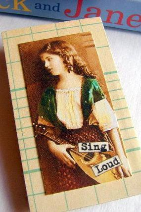 Sing Loud - Girl With A Mandolin - Inspirational Paper and Chipboard Collage Decoupage Pin Brooch Badge - Retro Vintage