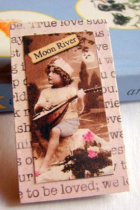 Moon River - Little Boy in the Moonlight Playing a Mandolin - Romantic Paper and Chipboard Collage Decoupage Pin Brooch Badge - Retro Vintage