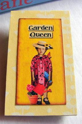 Vintage Girl with a Straw Hat and Watering Can - Garden Queen - Paper and Chipboard Collage Decoupage Pin Brooch Badge - Retro