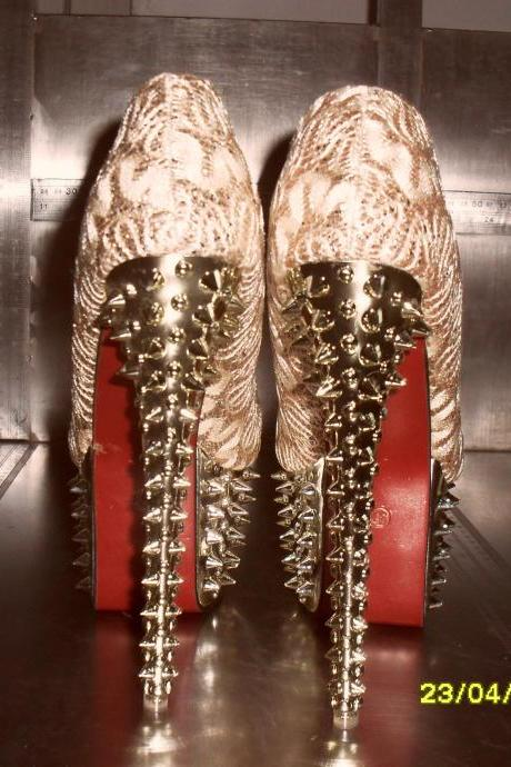 PUMP Platform Studded Spike Glitter Stilettos Gold High Heels Party Lace Shoes