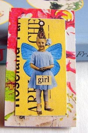 Girl in a Party Hat with Butterfly Wings - Paper and Chipboard Collage Decoupage Pin Brooch Badge - Retro Vintage