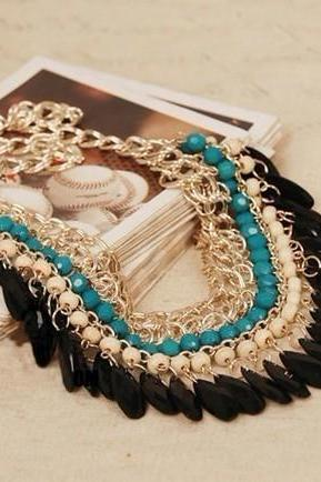 Have one to sell? Sell it yourself Fashion Gold Multicoloured Beaded Bib Choker Voguish Chain Bib Necklace Jewelry