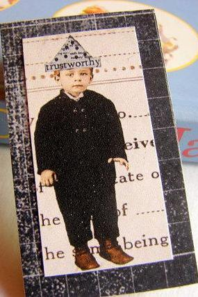 Trustworthy - Boy in a Paper Hat - Inspirational Paper and Chipboard Collage Decoupage Pin Brooch Badge - Retro Vintage