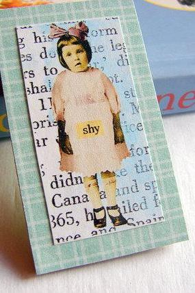 Shy - Girl with a Bow in Her Hair - Paper and Chipboard Collage Decoupage Pin Brooch Badge - Retro Vintage
