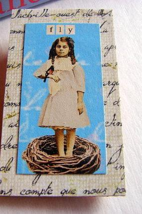 Fly - Girl in a Birds Nest - Inspirational Paper and Chipboard Collage Decoupage Pin Brooch Badge - Retro Vintage