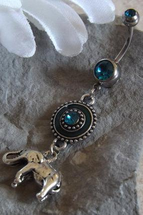 Elephant Belly Ring with Silver and Blue Rhinestone Body Jewelry
