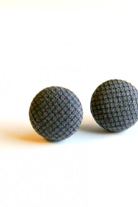 Dark Gray and Black Tulle Button Earrings
