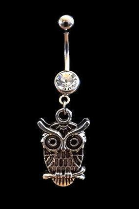 Owl Belly Ring with White Rhinestones