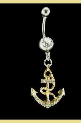 Anchor Belly Ring with White Rhinestones