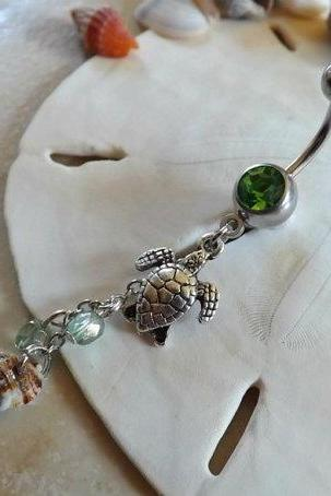 Turtle Belly Ring Natural Shell with Green Bead Accent