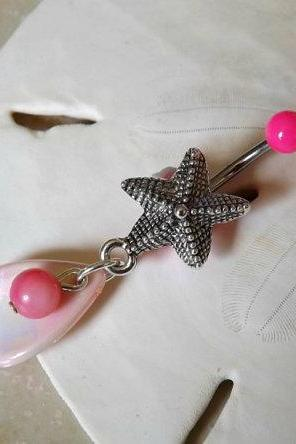 Starfish Belly Button Ring Pink With Shell Body Jewelry