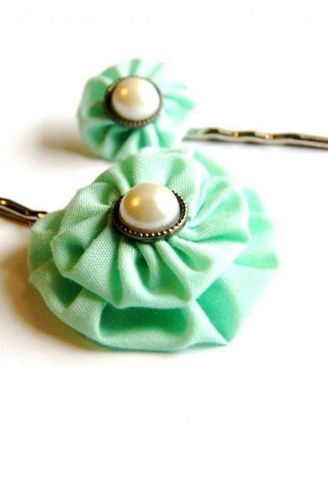 Mint Green Fabric Flower Bobby Pins