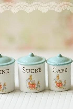 Dollhouse Miniature Kitchen Accessories- Peter Rabbit Kitchen Canisters in 1/12 Scale