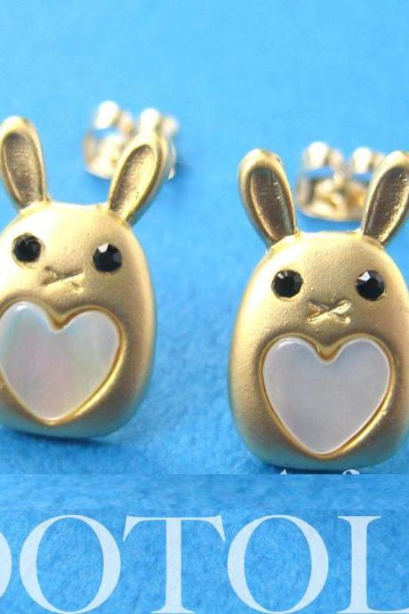 Small Bunny Rabbit Animal Stud Heart Earrings in Gold - ALLERGY FREE