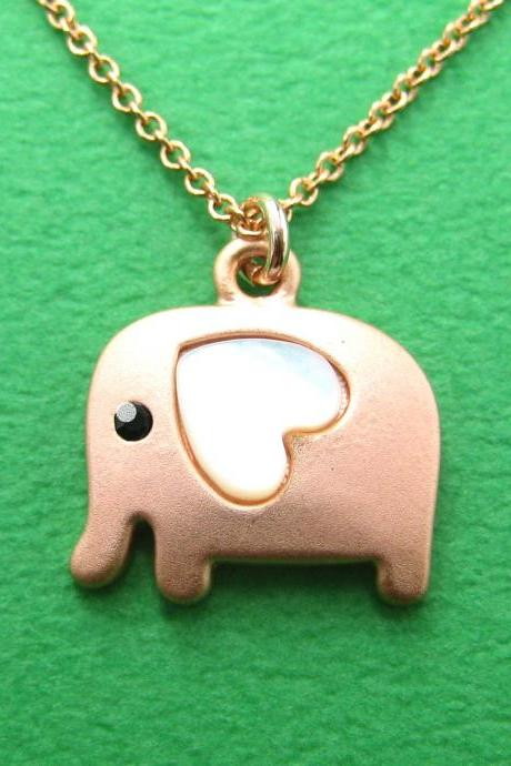 Elephant Pendant Necklace in Copper with Pearl Coloured Heart Shaped Ears